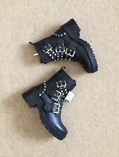 Zara Cuero Negro Tachonado Biker Botas al tobillo militares Correas de UK5 EU38 US7.5 #598