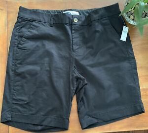 New Old Navy Women's Bermuda Everyday Shorts Black Mid Rise Sz 14 Cotton Stretch
