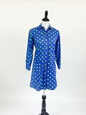 New listing Cute! Vtg 1970s Blue Green Polka Dot Mini Dress Tunic Top S M