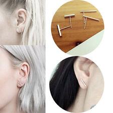 Minimalist 925 Silver Stud Earrings Simplify Stick Bar Earrings Line Earrings