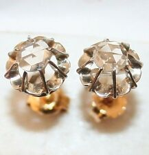 ANTIQUE VICTORIAN FRENCH W R 18k GOLD ROSE DIAMOND ONE STONE STUD EARRINGS 1900