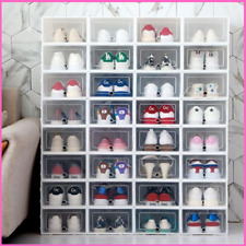 Shoe Storage Box Clear Plastic Foldable Stackable Organizer Transparent Shoe Box