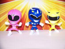 Mighty Morphin Power Rangers Burger King Pop Figures Blue Ranger Yellow Pink