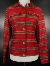 Beautiful Women's XS Coldwater Creek Red Textured Stripes Long Sleeve Blazer GUC