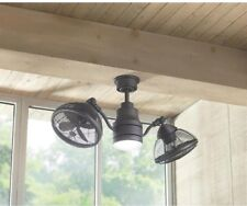 Outdoor/Indoor Twin Oscillating Gyro Ceiling Fan LED Light Industrial Dual Cage