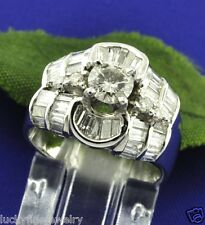 1.68 ct 18k solid White Gold Ladies Engagement Natural Diamond Ring Baguette