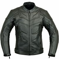 BATMAN Leather Motorbike Jacket Vented Motorcycle Coat with Armours