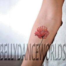 Beautiful red watercolor poppy flower temporary tattoo waterproof body sticker