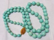VINTAGE CHINESE NATURAL TURQUOISE BEADED NECKLACE, 38 grams, silver clasp