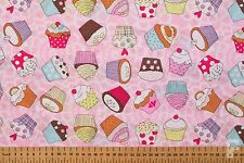 100% COTTON PRINTED FABRIC - CUPCAKES DESIGN - CANDY PINK & WHITE PATTERN