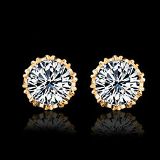 White Simple Fashion Diamond 925 Silver Plated Ear Stud Earrings Women Jewelry