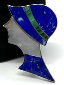 980 Silver  Lapis Lazuli Mother Of Pearl Ladies Portrait Pin Brooch.