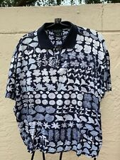 GUCCI MENS COTTON POLO SHIRT W/ ASSORTED FLOWERS SZ L