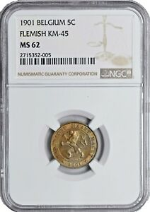 1901 MS62 Belgium 5 Centimes NGC UNC KM 45 Flemish Key date