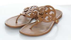 10-12 $198 Women's Sz 9.5 M Tory Burch Miller Leather Medallion Thong Sandals