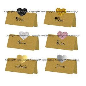KRAFT BROWN Glitter Foil Gold Silver Black HOT PINK Heart POP UP Place Card Tent