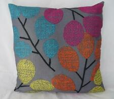 On-Trend Print Grey with Turquoise/Orange/Yellow Leaves Cushion Cover 45cm