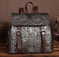 New Women's Silver Vintage Genuine Leather Embossed Backpack Travel Bag Handbag
