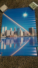 NYC Rainbow Skyline 1987 Poster New York Empire State Twin Towers Hudson River