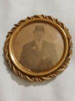 ➡➡US Civil War Union Vintage Soldier Tintype in Gilt brooch frame Gettysburg