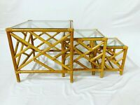 Asian Chinoiserie Bamboo Rattan Nesting Tables - Set of 3