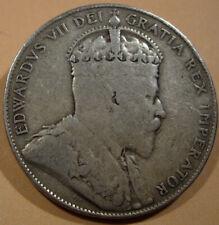 Natural Grey Tone 1907 Canada Silver 50 Cent King Edward VII