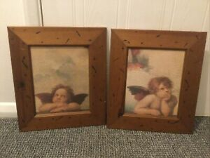 Pair of Vintage RAPHAEL's Famous Cherubs Prints with a Wooden Frame