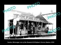 OLD LARGE HISTORIC PHOTO OF NATCHEZ MISSISSIPPI, THE DI STEFANO GAS STATION 1920