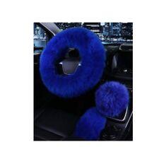 Auto SUV Car Steering Wheel Cover 3pcs Set Kit Fur Wool Furry Fluffy Warm