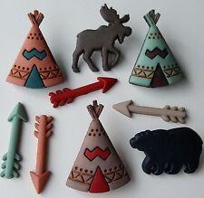 Little Man Cave nativo americano Flecha Oso Tipi Tienda Vestido para arriba Craft Botones