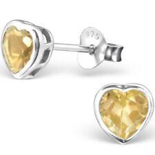 925 Sterling Silver Citrine heart stud earrings birthstone november UK jewellery