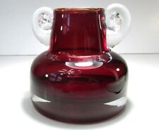 Ruby Red Hand Blown Art Glass Jug Jar Round w Applied Double Handle Handcrafted