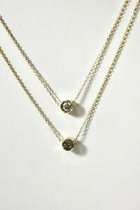 NWT 0.75 ct Genuine diamond Double Row necklace 14K Yellow Gold On Sale