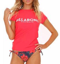 Billabong Rashie Rash Vest Tag Womens Ladies Wet Shirt Wetshirt Sun Red 12
