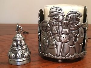 Set of 3 Pewter Holiday Christmas Snowman Candle Holders matching Snuffer NIB