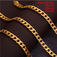 1pc Gold Plated Cuban/Curb Link Chain Necklace Bracelet Mens Jewelry Accessories