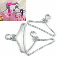 100pc Plastic Mini Bowknot Clothes Rack Coat Dress Hanger Holder for Barbie Doll