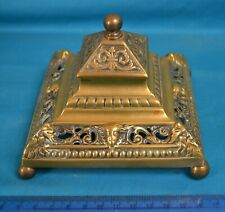 Vintage Classical Brass Inkwell With Ceramic Insert