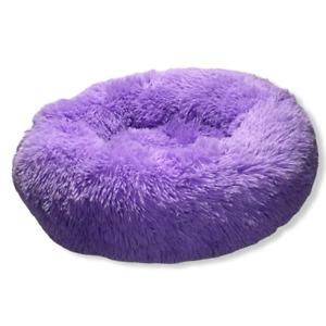 Dog Cat Bed Fluffy Donut Kitten Puppy Pet Cushion  (Mauve) .  -NEW-
