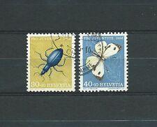 SWISS / SUISSE - PAPILLONS 1956 YT 584 à 585 / MI 635 à 636 - USED - COTE 10 €
