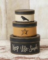 "PRIMITIVE NESTING BOXES KEEP LIFE SIMPLE STACKING CROW SMALL 5.5"" H SET OF 3"