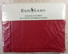 Ralph Lauren Home King Flat Sheet Solid Dark Rose 200 Thread Ct Cotton Vtg 90s