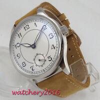 44mm sterile Weiß Zifferblatt Leuchtzeiger 6498 Handaufzug movement Armbanduhren