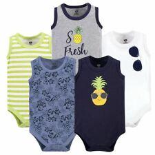 Hudson Baby Boy Sleeveless Bodysuits, 5-Pack, Boy Pineapple