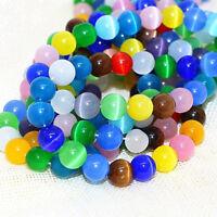 95 Katzenauge Perlen 4mm Rund Glasperlen Bunte Strang Schmuck Cat Eye BEST D89