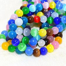 Katzenauge Perlen 6mm Rund Glasperlen Bunte 65stk für Schmuck Cat Eye BEST D87
