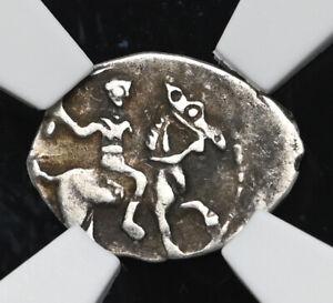 """RUSSIA. Ivan IV """"The Terrible"""", 1533-1584. Silver Denga, NGC AU50"""