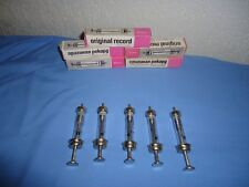 Lot of 5 vintage brand new  glass syringes ORIGINAL RECORD 2 cc with needles