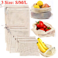 Reusable Eco-friendly Cotton Mesh Bags Grocery Fruit Storage Shopping String Bag