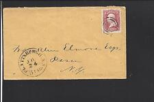PLATTSBURGH, NEW YORK COVER,#65 VF, 3 PAID IN DIAL, CLINTON /OP.